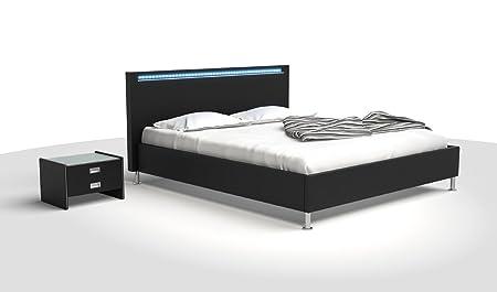 SAM ® Polsterbett Touch 180 x 200 cm schwarz Bett mit hohem Kopfteil und LED Leiste mit Farbwechsel