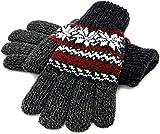 (マルカワジーンズパワージーンズバリュー) Marukawa JEANS POWER JEANS VALUE 手袋 メンズ グローブ スマホ対応 スマートフォン対応 ニット 雪柄 ノルディック柄 二重構造 4color Free ワイン
