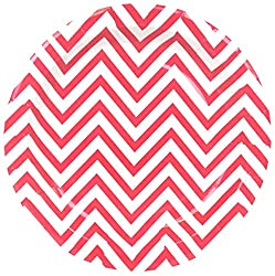 PrettyurParty Chevron Paper Plates (Pack of 10) - Red