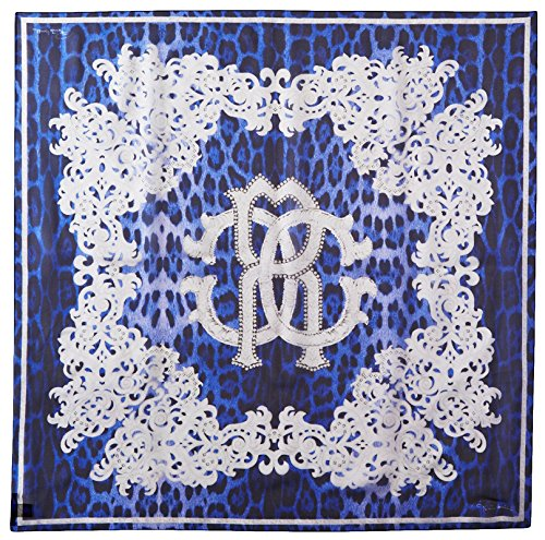 Roberto-Cavalli-Womens-Patterned-Scarf-BlueWhite