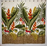 Hawaii Theme 100% Polyester Fabric Shower Curtain Yellow Heliconia Flower