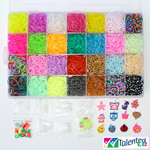 THE ULTIMATE! TIE DYE, JELLY, UV & METALLIC COLORS! TALENTED KIDZ EXCLUSIVE MEGA COMBO - 7000 RUBBER BANDS REFILL STORAGE ORGANIZER: Comes with 7000 Rainbow Rubber Bands in 28 Specialty Colors: JELLY, GLITTER, GOLD, SILVER, METALLIC, TIE-DYES, UV MAGIC, G
