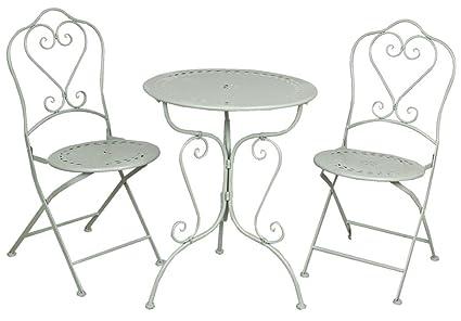 5Y0129 Clayre & Eef - Set di mobili per giardino - Tavolo e due sedie - Grigio ca. 62 x 73 cm / 48 x 40 x 93 cm