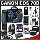 Canon EOS 70D Digital SLR Camera & EF-S 18-135mm IS STM Lens with 64GB Card + Battery & Charger + Backpack + 3 Filters + Tripod + Tele/Wide Lenses + Accessory Kit