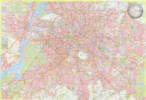 Berlin – Stadtplan – Pinnwand, matt antireflexierend laminiert (beschreib- u. abwaschbar), im Alurahmen gerahmt silber matt