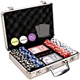 Da Vinci 200 Dice Striped 11.5 gram Poker Chip Set w/Aluminum Case, Dealer Button, 2 Decks of Cards & 5 Dice