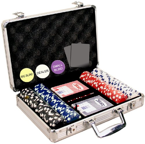 Cheapest Price! Da Vinci 200 Dice Striped 11.5 gram Poker Chip Set w/Aluminum Case, Dealer Button, 2...