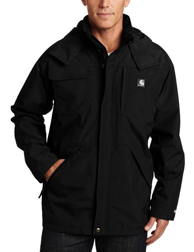 Carhartt Men's Waterproof Breathable Coat, Black, XX-Large/Regular