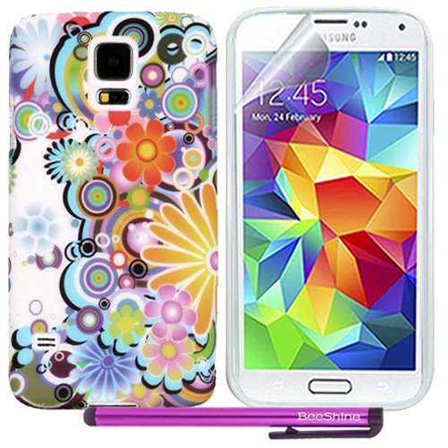 Beeshine Retail Package Protective Soft Rubber Skin Flexible Tpu Gel Case Cover With Lcd Film Screen Protector For Samsung Galaxy S5 Sv (Colorful Sunflower Pattern)