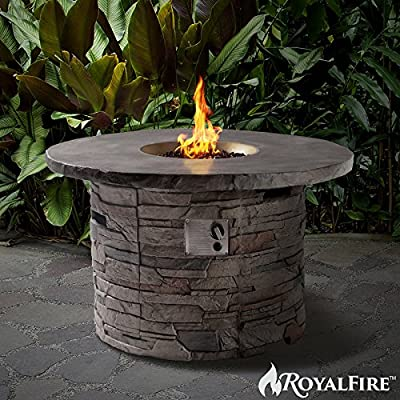 Royalfire Rfjc42501gf-ns Round Fibreglass Gas Fire Pit - Natural Stone by Cozy Bay