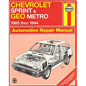 chevrolet sprint & geo metro automotive repair manual 1985