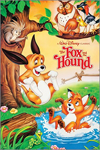 the fox and the hound VINTAGE KIDS MOVIE POSTER disney colorful 24X36 FUN 0