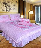 fashionadobe Satin Gold printed Double Bed Bedding Wedding set ( Set of 4 pcs) 1 Double bed Bedsheet:: 2 Pillow cover:: 1 Double Bed AC comforter:: 2 Filled Cushions:: 2 Filled Bolsters