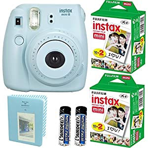 Fujifilm Instax Mini 8 Instant Film Camera (Blue)+ 2 Fujifilm INSTAX Mini Instant Film Twin Pack ( = 40 Sheets) With Photo Album 64 Pockets Blue Value Set Bundle