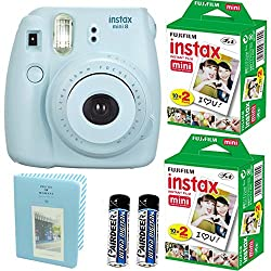Fujifilm Instax Mini 8 Instant Film Camera (Blue)+ 2 Fujifilm INSTAX Mini Instant Film Twin Pack ( = 40 Sheets) With Photo Album 64 Pockets Blue Value Set Bundle