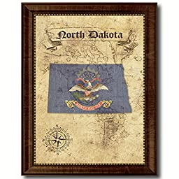 North Dakota State Vintage Map Flag Art Custom Picture Frame Office Wall Home Decor Cottage Shabby Chic Gift Ideas, 18\