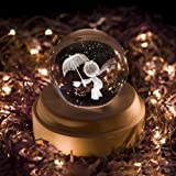 Projection LED Light-3D Crystal Ball Music Box Luminous Rotating Musical Box-Wood Base Best Gift for Birthday Christmas (Prince) (Color: Prince)