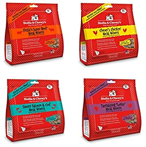 Stella & Chewy's Freeze Dried Meal Mixers for Dogs, 3.5oz Variety 4 Pack. 1 of each flavor (Beef, Chicken, Turkey, Salmon and Cod)