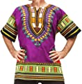 RaanPahMuang Brand Unisex Bright Colour Cotton Africa Dashiki Shirt Plain Front