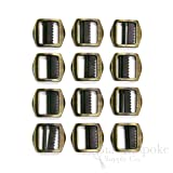 Set of 12 Brass Small Brushed Metal Tailor's Slide Buckles from Italy (Color: Brushed Antique Brass, Tamaño: Set of 12 Buckles)