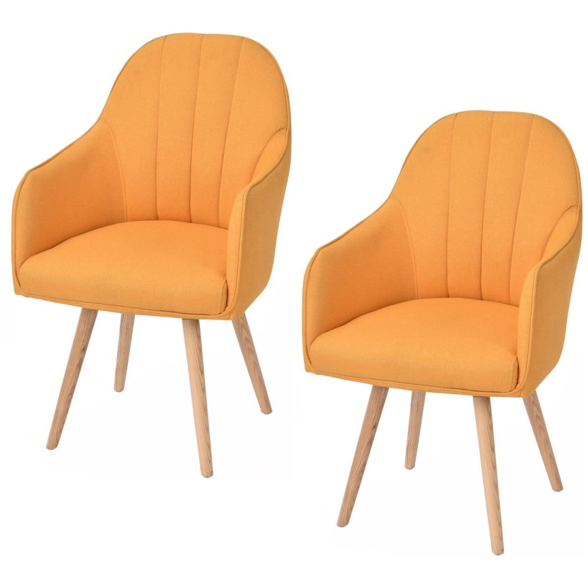 Giantex Set of 2 Accent Dining Chairs Style Arm Chair Modern w/Wood Legs Yellow