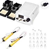 Soiiw 60W Pyrography Machine Wood Burning Kit Dual Pen Digital Display White with 20 Pyrography Wire Tips Adjustable Temperature Control for Wood Leather and Gourd (Tamaño: White-Dual Port Digital)