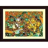 Tamatina Framed Canvas Painting - Krishna Leela - Kerala Mural - Canvas Art - Wooden Texture Frame - Size 15 Inch X 11 Inch (40x30 Cms)