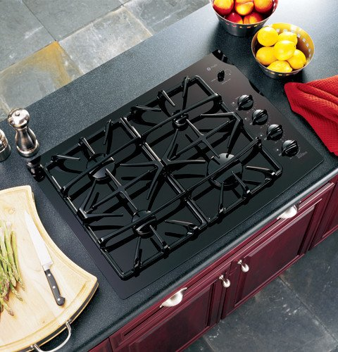 GE Profile : JGP940BEKBB 30 Gas Cooktop with 4 Sealed Burners- Black  ->  GE Consumer and Industrial spans the globe as an i