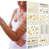 Metallic Temporary Tattoos, 8 Sheets, 150+ Designs