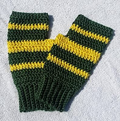 Hand Crocheted Fingerless Texting Gloves, Arthritis Fibromyalgia Hand Warmers, Green and Gold (Green Bay, Oregon, Baylor, Alaska, North Dakota State)