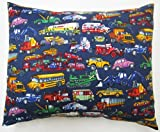 SheetWorld Crib / Toddler Percale Baby Pillow Case - Vehicles Galore - Made In USA