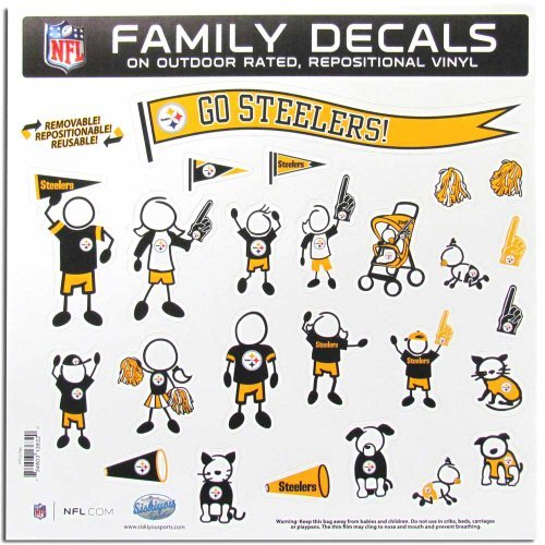 PITSBURGH STEELERS NFL FAMILY CAR DECAL SET (LARGE) by Siskiyou (Steelers Family Car Decals compare prices)