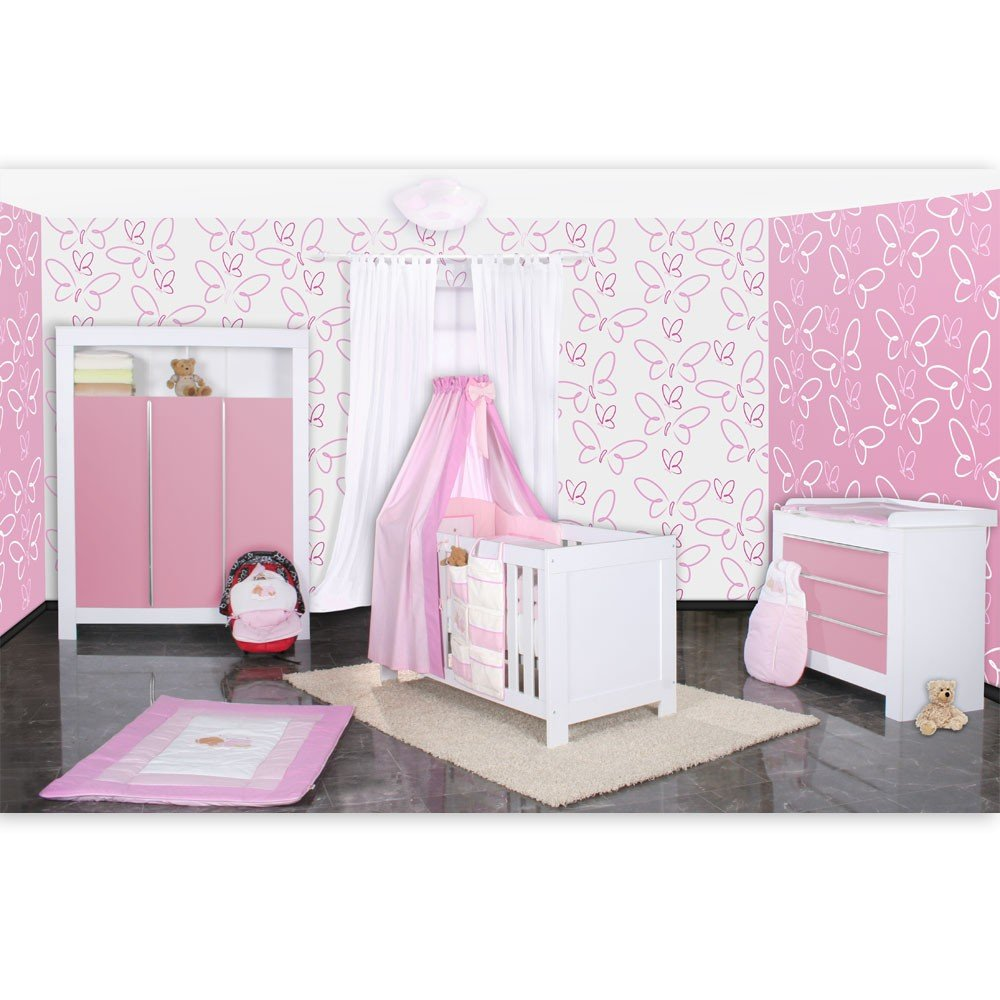 Babyzimmer Felix in weis/rosa 21 tlg. mit 3 türigem Kl + Sleeping Bear in rosa