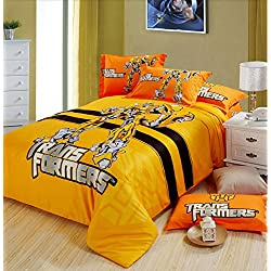 Luk Oil Home Textile Cartoon Transformers Children Bedding Set Cartoon Cotton Duvet Cover Sets for Boy Bed Sheets Qulit Cover Set 4-piece (1 Duvet Cover, 1 Bed Sheet, 2 Pillow Cases)