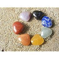 Conjunto de 7 mini corazón chakra colgante piedras ~arcoiris,chakra,meditación,