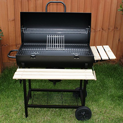 Charles-Jacobs-Summer-Garden-Grill-Cooking-Charcoal-Patio-Barrel-BBQ-with-Wheels-in-Black