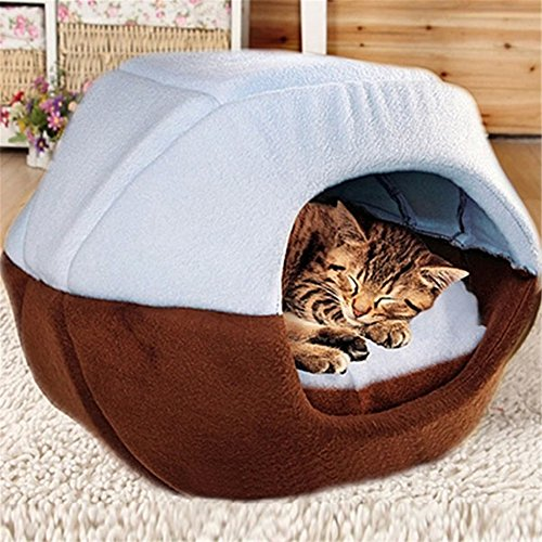 FFMODE Cozy Pet Dog Cat Cave Mongolian Yurt Shaped House Bed with Removable Cushion inside, 45X35X40cm, Blue&Coffee