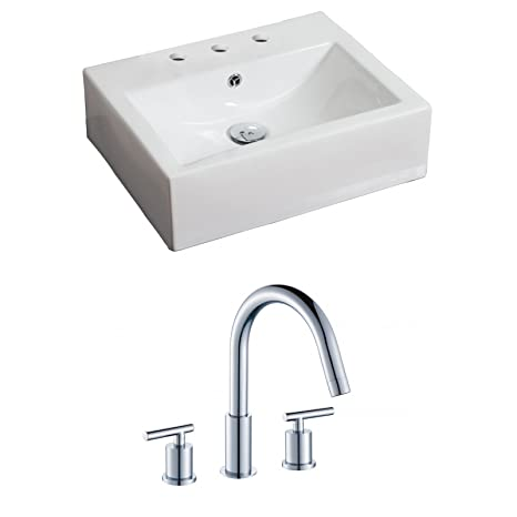 "Jade Bath JB-15118 20"" W x 18"" D Rectangle Vessel Set with 8"" o.c. CUPC Faucet, White"