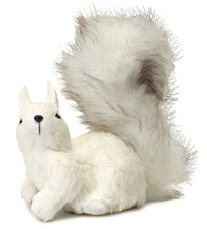 Snowy Winter White Left Facing Fluffy Tail Sisal Squirrel Christmas Table Top Decoration by Melrose