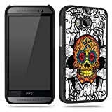 Sugar Skull Orange Tattoo Colourful Phone Case Shell for HTC M8