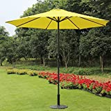 9 Foot Decorative Market Umbrella with Crank and Tilt - Yellow
