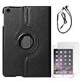 DMG Full 360 Rotating Cover Case For Apple Ipad Mini 3 (Black) + Black Earphones + Matte Screen
