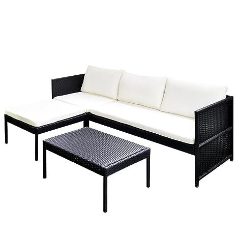 vidaXL Conjunto negro de poli ratán para el jardín con sofá tres plazas