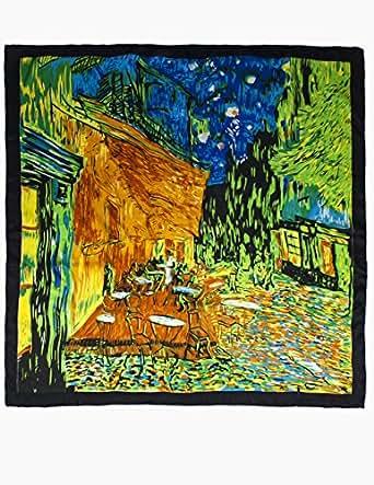 "Dahlia Women's 100% Square Silk Scarf Van Gogh ""Cafe Terrace at Night"" - Orange"