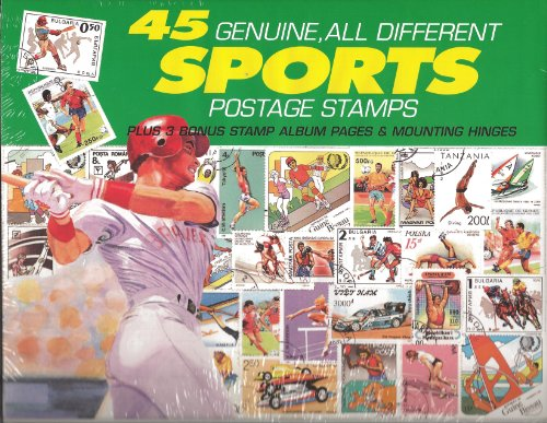45 Genuine Postage Stamps Assortment - Sports - 1