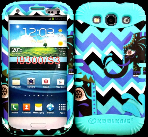 Hybrid Impact Rugged Cover Case Elephant On Chevron Waves Pattern Hard Plastic Snap On Baby Teal Silicon Skin For Samsung Galaxy Slll S3 Fits Sprint L710, Verizon I535, At&T I747, T-Mobile T999, Us Cellular R530, Metro Pcs And All front-574894