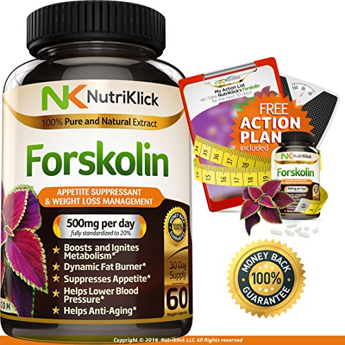 Forskolin Extract for Weight Loss, Diet Supplement, Belly Fat Burner - Appetite Suppressant, Increase Metabolism, Dietary Antioxidant Vitamin, Carb Blocker - For Adults - 100% Money Back Guarantee (Forskoline Extract compare prices)