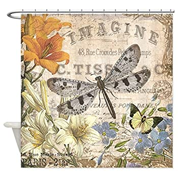 "HANHAOKI Modern Vintage French Dragonfly Shower Curtain 72""x72"""