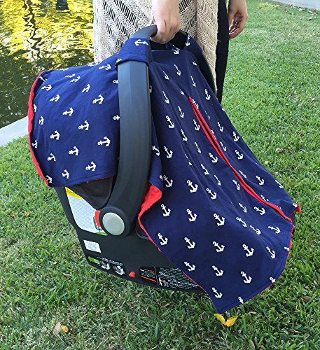 premium carseat cover with peekaboo opening for infant car seat by kids n 39 such nautical. Black Bedroom Furniture Sets. Home Design Ideas