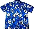 """Chemise Hawaienne Homme """"Classic Flowers (blue)"""" 100% coton, taille M - 3XL, bleu"""
